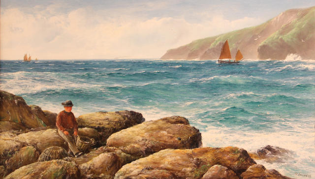 David James (British, fl. 1883-1897) High tide, Mawgan Porth Bay, Cornwall 18 x 30in