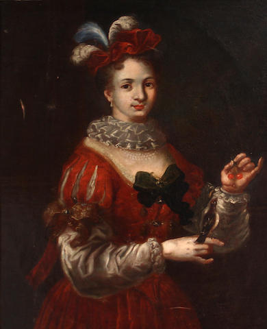 Follower of Alexis Grimou (Romont 1678-1733 Paris) A portrait of a noblewoman with her pet bird 34 1/2 x 26in
