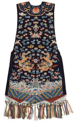 A woman's embroidered silk quasi-official vest, xiapei Late 19th century