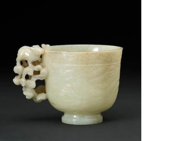 Chinese pale jade celadon cup on stand