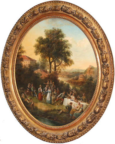 Austrian School, 18th Century A country feast oval, 21 1/4 x 18 1/8in
