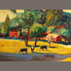 Lundy Siegriest (American, 1925-1985) Cows in a pasture, 1982-84 12 x 16in
