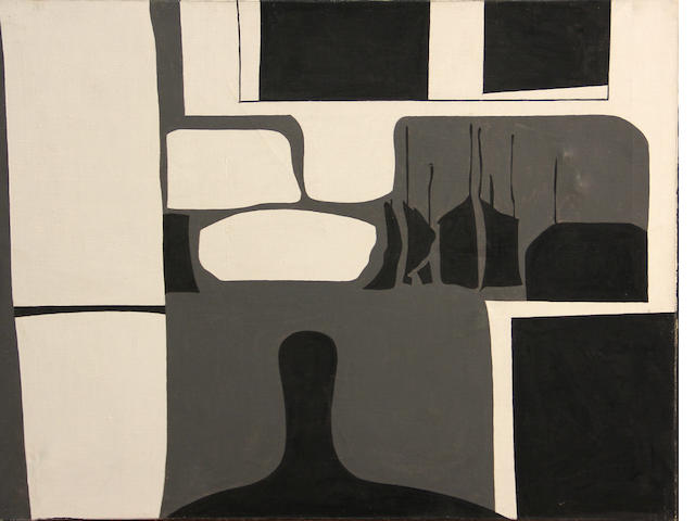 Charles Howard (American, 1899-1978) Abstract Composition in Black, White and Gray 15 3/4 x 19 3/4in unframed
