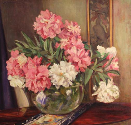 Linley Munson Tonkin (American, 1877-1932) Peonies 28 x 28 1/4in