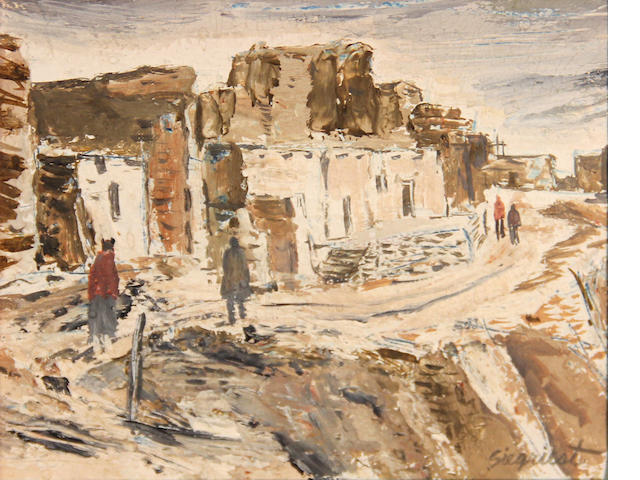 Louis Siegriest (American, 1899-1989) Acoma Pueblo, New Mexico 4 1/4 x 5 1/2in