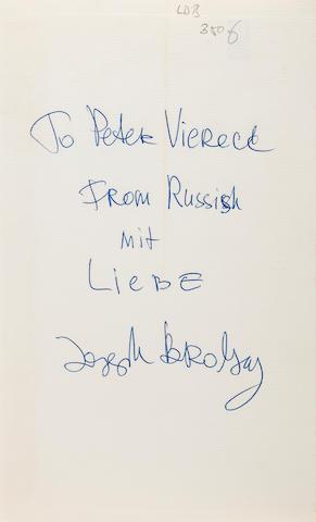 BRODSKY, JOSEPH. 1940-1996. Ausgewählte Gedichte. Esslingen: Bechtle, 1966.<BR />