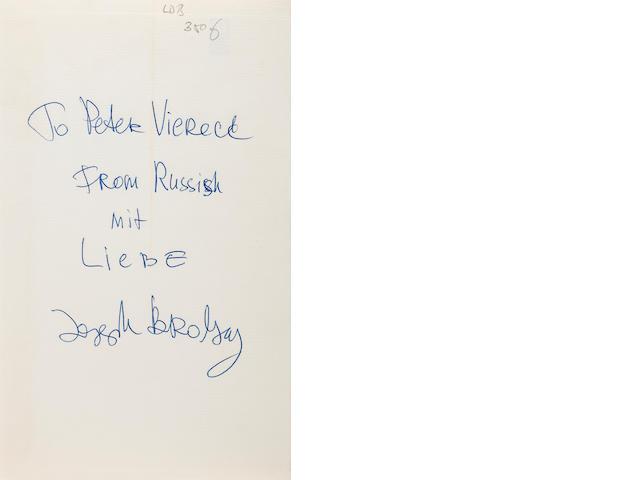 BRODSKY, JOSEPH. 1940-1996. Ausgewählte Gedichte. Esslingen: Bechtle, 1966.