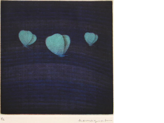 Yozo Hamaguchi (Japanese, 1909-2000); Three butterflies (purple and pale green);