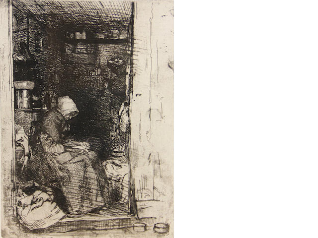 James Abbott McNeill Whistler (1834-1903); La Vieille au Loques, from Twelve Etchings from Nature Series;