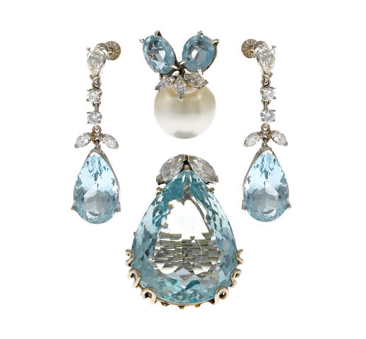 A group of aquamarine, cultured pearl, diamond and white gold jewelry; comprising a ring, pair of screback earrings and a pendant slider