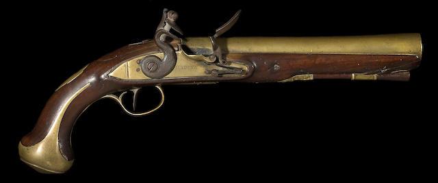 An English brass-barreled flintlock pistol by Henry Hadley