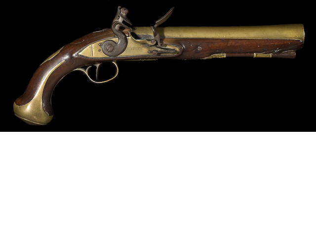 An English brass-barreled flintlock pistol by Henry Hadley