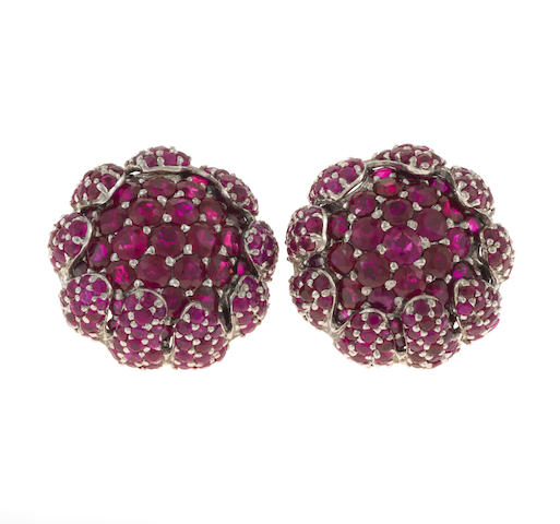 A pair of ruby and white gold earrings, Andrea Molinari, unsigned