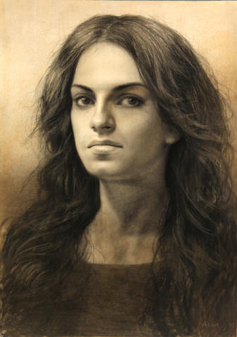 Steven Assael (American, born 1957) Portrait of a woman, 1995 14 x 9 1/2in unframed