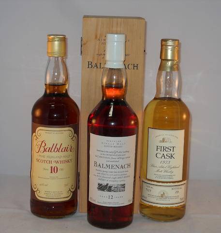 Balblair 10 year old (1) <BR /> Balmenach 12 year old (1) <BR /> Blair Atholl 1973- 21 year old (1)