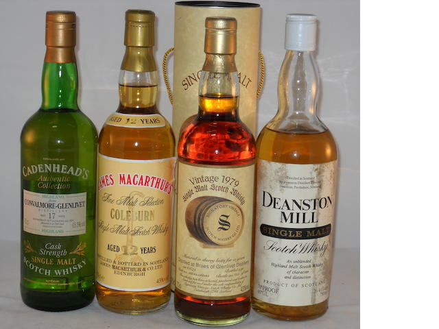 Convalmore-Glenlivet 1977- 17 year old (1) <BR /> Coleburn 12 year old (1) <BR /> Braes of Glenlivet 1979 (1) <BR /> Deanston  (1) <BR /> Dailuaine 1966- 13 year old (1)