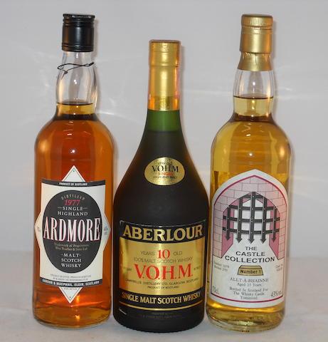 Aberlour VOHM 10 year old (1) <BR /> Allt-A-Bhainne 1979- 13 year old (1) <BR /> Ardmore 1977 (1)
