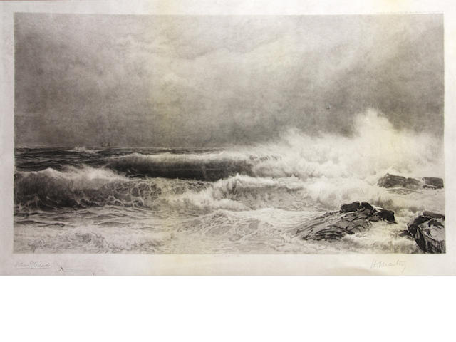 William Trost Richards (American, 1833-1905); Breaking the Waves;