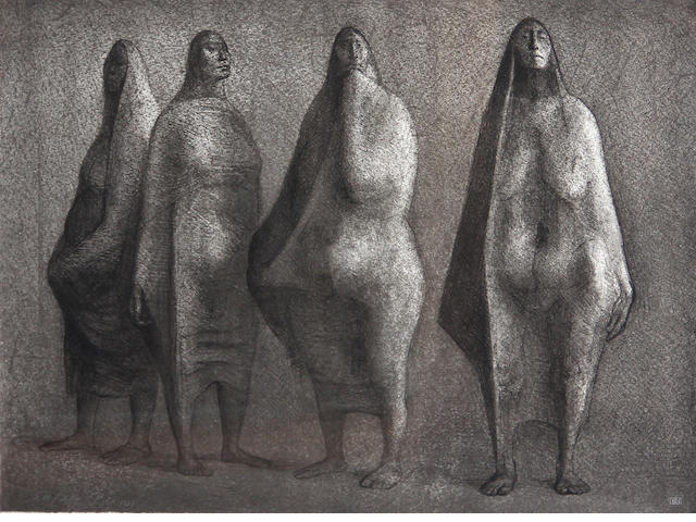 Francisco Zúñiga (Mexican, 1912-1998); Cuatro Figuras de Pie;