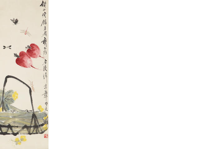 Qi Bashi Vegatables and Insects hanging scroll