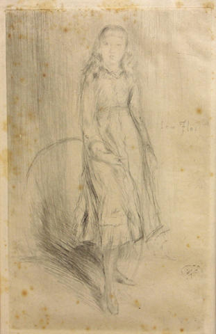 James Abbott McNeill Whistler, Florence Leyland (K.110), 1873, etching, 8 1/4 x 5 1/2in, framed;