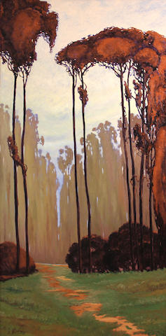 Jesse Don Rasberry (American, born 1940) Path through a eucalyptus grove 48 x 24in