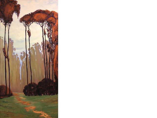 Jesse Don Rasberry (American, born 1940) Path through a Eucalyptus grove 48 x 24in
