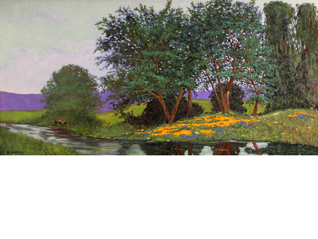 Jesse Don Rasberry (American, born 1940) Wildflowers and trees on a riverbank 24 x 48in