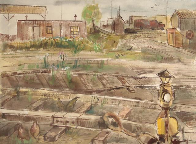 Larry Walker (American, born 1935) Birds on the tracks, 1962 22 1/2 x 30 1/4in