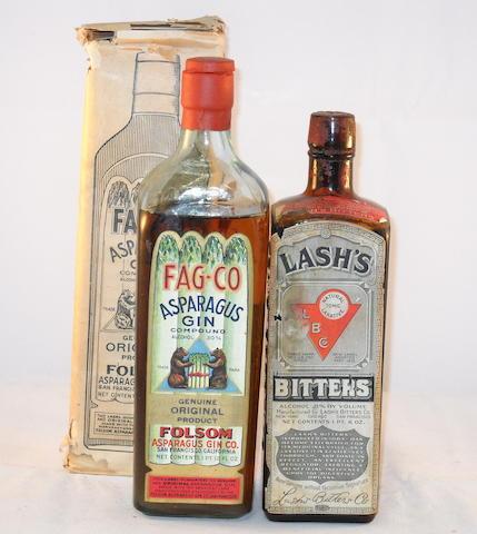 Burnett's London Dry Gin (1) <BR /> FAG-CO Asparagus Gin (1) <BR /> Lash's Bitter's (1)