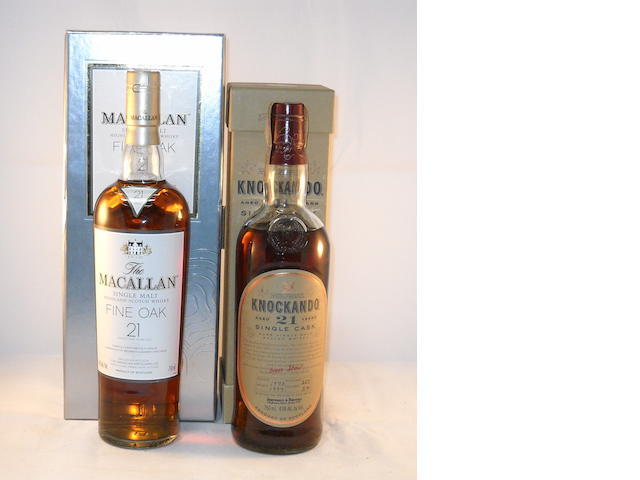 Macallan Fine Oak 21 year old (1) <BR /> Knockando 1973- 21 year old (1)