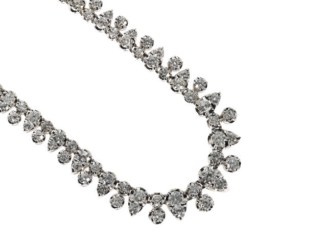 A RBC diamond and platinum necklace, weighing approx. 10.00ct. total