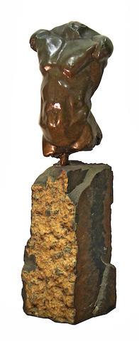 John Sisko (American, born 1958) Torso Study: Male II 16 1/2 x 5 1/4 x 4in