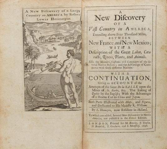 HENNEPIN, LOUIS. 1640-1705? A New Discovery of a Vast Country in America.... London: M. Bentley, J. Tonson, et al, 1698.