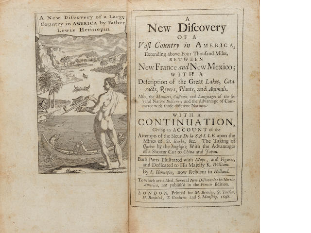 HENNEPIN, LOUIS. 1640-1705? A New Discovery of a Vast Country in America.... London: M. Bentley, J. Tonson, et al, 1698.<BR />