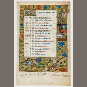 ILLUMINATED CALENDAR LEAF. Illuminated manuscript on vellum, [France, c.1500].