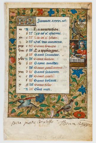 ILLUMINATED CALENDAR LEAF. Illuminated manuscript on vellum, [France, c.1500].