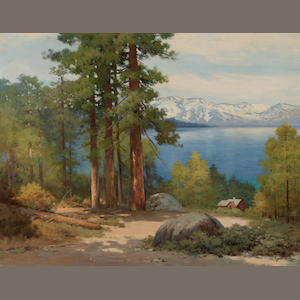 Robert Wood (American/British, 1889-1979) Robert Wood Lake Tahoe (There is a note affixed to the back that states: this is the spot where the movie 'Rose Marie' with Nelson Eddy and Jeanette McDonald was filmed.)