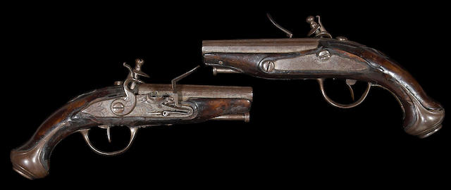 A pair of French flintlock pocket pistols