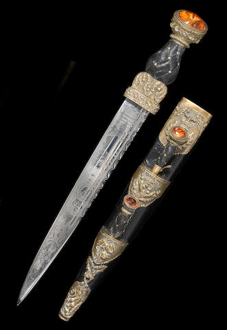 A boxed Victorian Scottish officer's dirk for the Queen's Own Cameron Highlanders by Wilkinson