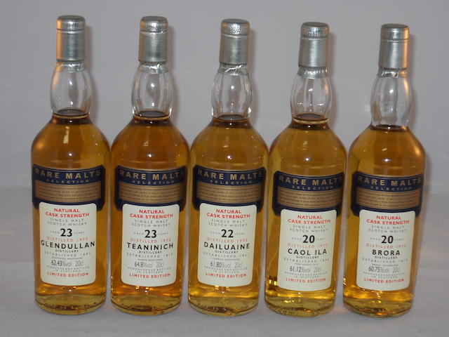 Glendullan 1973- 23 year old (1) <BR /> Teaninich 1972- 23 year old (1) <BR /> Caol Ila 1975- 20 year old (1) <BR /> Brora 1975- 20 year old (1) <BR /> Dailuaine 1973- 22 year old (1)