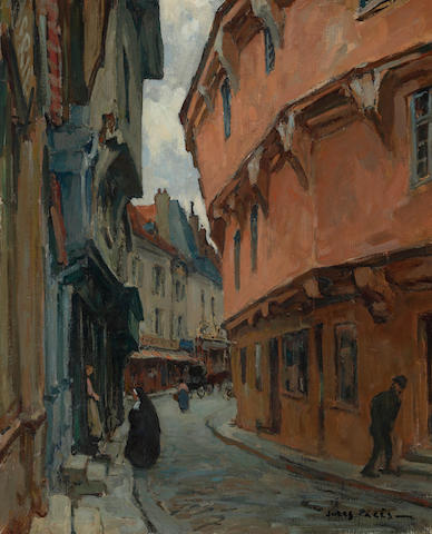 Jules Eugène Pages (American, 1867-1946) A view of a French street 18 x 15in
