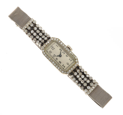 An art deco diamond and platinum wristwatch
