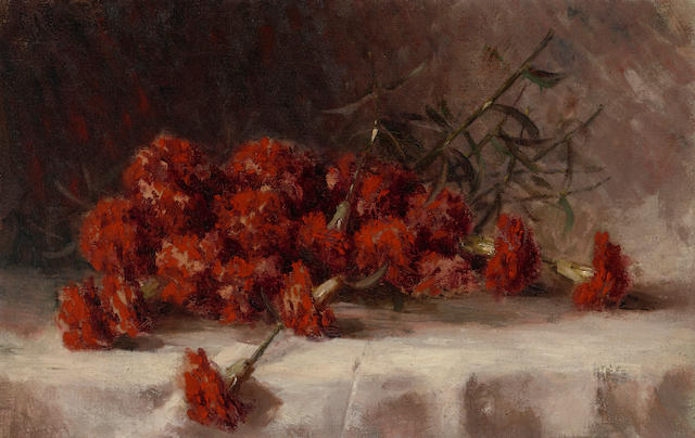 Giuseppe Cadenasso (American, 1858-1918) Red carnations 14 1/4 x 22 1/4in