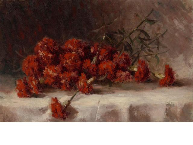 Giuseppe Cadenasso (American, 1858-1918) Red carnations 14 1/4 x 22 1/4in