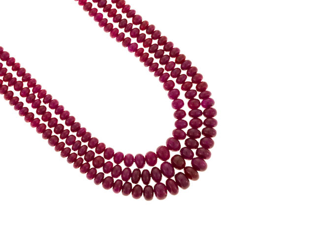 A ruby bead three-strand necklace