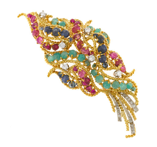 A ruby, sapphire, emerald and diamond brooch