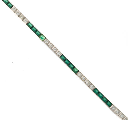 A diamond and synthetic green spinel line bracelet