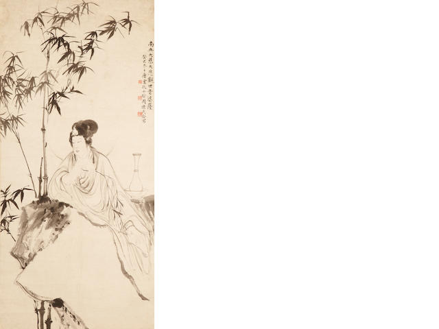 Tang Yun, Kong Xiaoyu, Zhou Huaimin Guanyin, hanging scroll, ink on paper