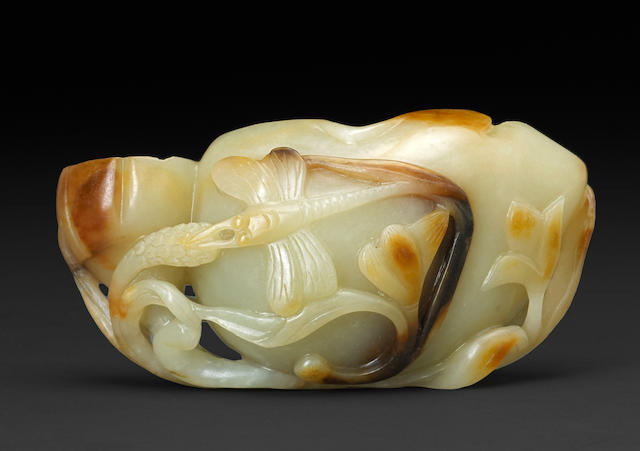 A nephrite lotus group 19th century